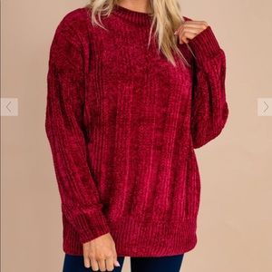 Red Dress Red Chenille Sweater